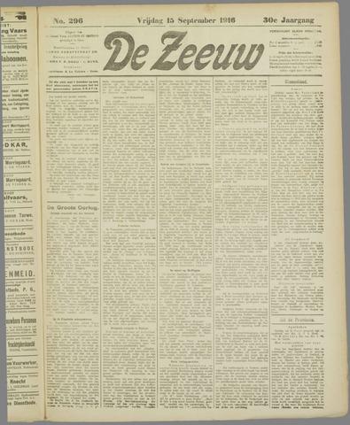 De Zeeuw. Christelijk-historisch nieuwsblad voor Zeeland 1916-09-15