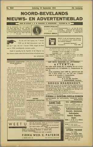 Noord-Bevelands Nieuws- en advertentieblad 1934-09-29