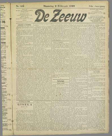 De Zeeuw. Christelijk-historisch nieuwsblad voor Zeeland 1920-02-09