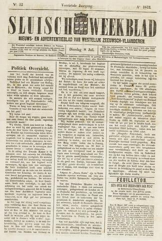 Sluisch Weekblad. Nieuws- en advertentieblad voor Westelijk Zeeuwsch-Vlaanderen 1873-07-08
