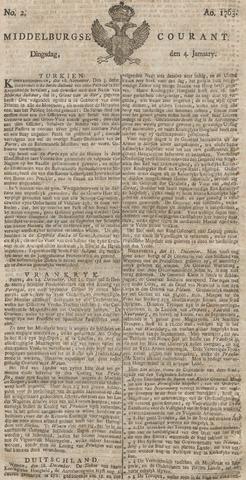 Middelburgsche Courant 1763-01-04