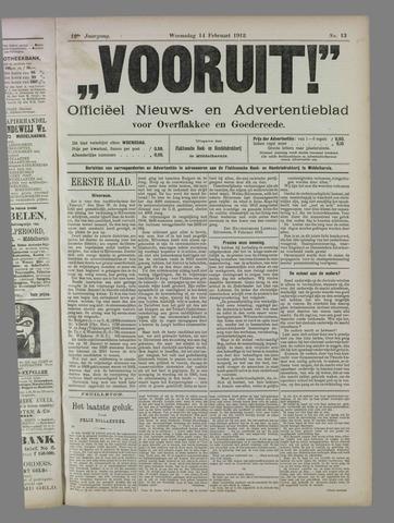 """""""Vooruit!""""Officieel Nieuws- en Advertentieblad voor Overflakkee en Goedereede 1912-02-14"""