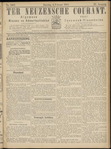 Ter Neuzensche Courant. Algemeen Nieuws- en Advertentieblad voor Zeeuwsch-Vlaanderen / Neuzensche Courant ... (idem) / (Algemeen) nieuws en advertentieblad voor Zeeuwsch-Vlaanderen 1911-02-04