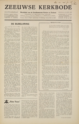 Zeeuwsche kerkbode, weekblad gewijd aan de belangen der gereformeerde kerken/ Zeeuwsch kerkblad 1957-04-12