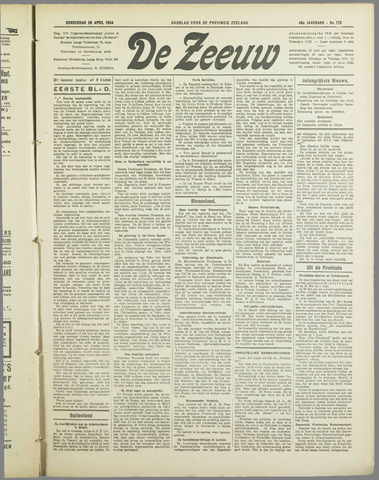 De Zeeuw. Christelijk-historisch nieuwsblad voor Zeeland 1934-04-26