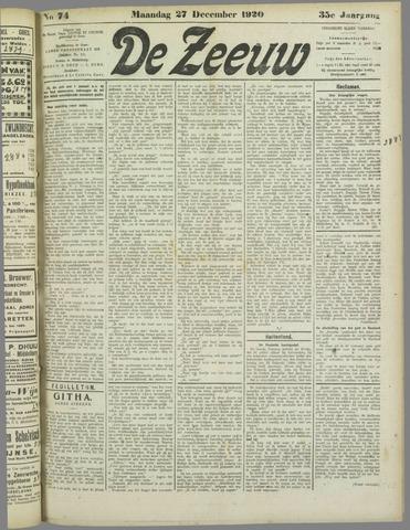 De Zeeuw. Christelijk-historisch nieuwsblad voor Zeeland 1920-12-27