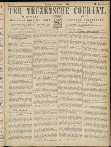 Ter Neuzensche Courant. Algemeen Nieuws- en Advertentieblad voor Zeeuwsch-Vlaanderen / Neuzensche Courant ... (idem) / (Algemeen) nieuws en advertentieblad voor Zeeuwsch-Vlaanderen 1911-02-14