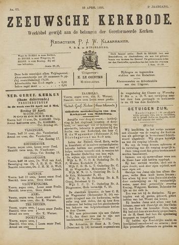 Zeeuwsche kerkbode, weekblad gewijd aan de belangen der gereformeerde kerken/ Zeeuwsch kerkblad 1888-04-28