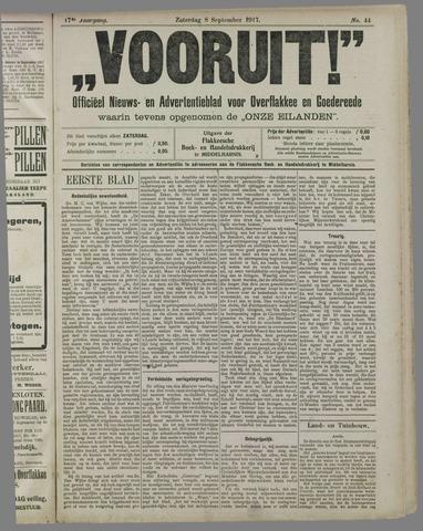 """""""Vooruit!""""Officieel Nieuws- en Advertentieblad voor Overflakkee en Goedereede 1917-09-08"""