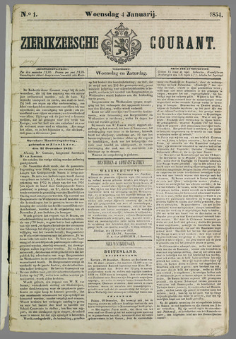 Zierikzeesche Courant 1854