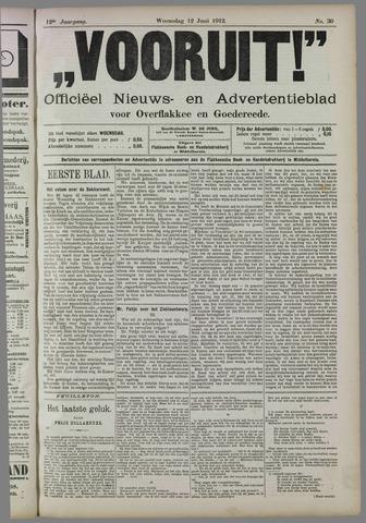 """""""Vooruit!""""Officieel Nieuws- en Advertentieblad voor Overflakkee en Goedereede 1912-06-12"""
