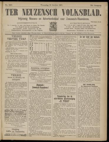 Ter Neuzensch Volksblad. Vrijzinnig nieuws- en advertentieblad voor Zeeuwsch- Vlaanderen / Zeeuwsch Nieuwsblad. Nieuws- en advertentieblad voor Zeeland 1917-10-10