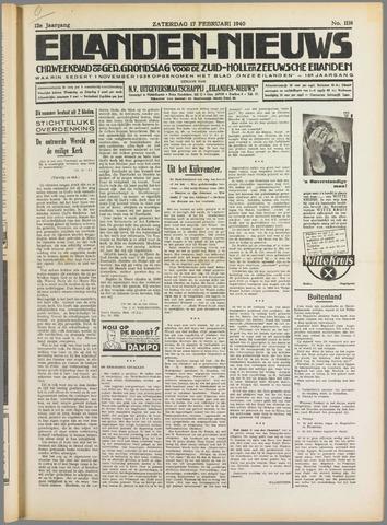 Eilanden-nieuws. Christelijk streekblad op gereformeerde grondslag 1940-02-17