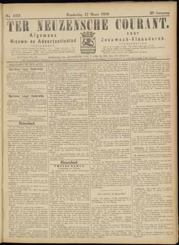 Ter Neuzensche Courant. Algemeen Nieuws- en Advertentieblad voor Zeeuwsch-Vlaanderen / Neuzensche Courant ... (idem) / (Algemeen) nieuws en advertentieblad voor Zeeuwsch-Vlaanderen 1910-03-17