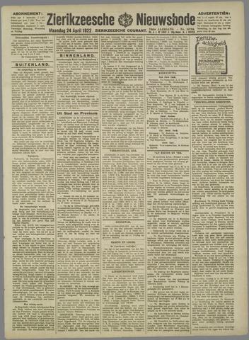 Zierikzeesche Nieuwsbode 1922-04-24