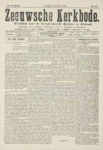 Zeeuwsche kerkbode, weekblad gewijd aan de belangen der gereformeerde kerken/ Zeeuwsch kerkblad 1915-10-15