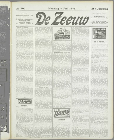 De Zeeuw. Christelijk-historisch nieuwsblad voor Zeeland 1924-06-02