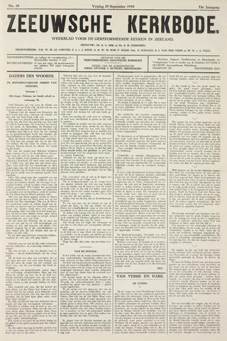Zeeuwsche kerkbode, weekblad gewijd aan de belangen der gereformeerde kerken/ Zeeuwsch kerkblad 1939-09-29