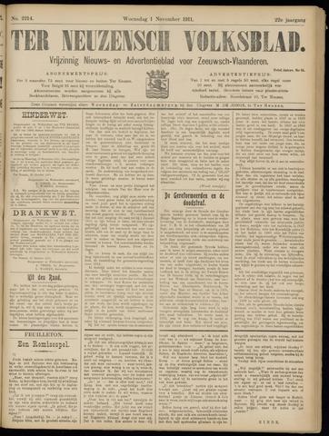 Ter Neuzensch Volksblad. Vrijzinnig nieuws- en advertentieblad voor Zeeuwsch- Vlaanderen / Zeeuwsch Nieuwsblad. Nieuws- en advertentieblad voor Zeeland 1911-11-01