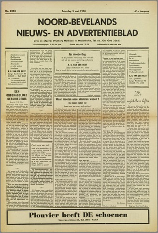 Noord-Bevelands Nieuws- en advertentieblad 1958-05-03