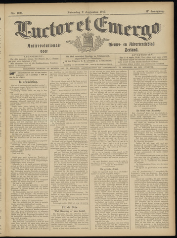Luctor et Emergo. Antirevolutionair nieuws- en advertentieblad voor Zeeland / Zeeuwsch-Vlaanderen. Orgaan ter verspreiding van de christelijke beginselen in Zeeuwsch-Vlaanderen 1913-08-09