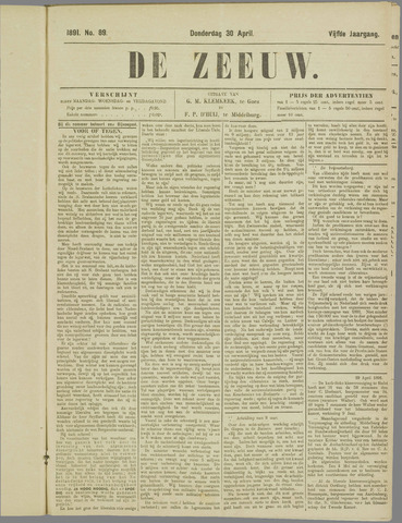 De Zeeuw. Christelijk-historisch nieuwsblad voor Zeeland 1891-04-30