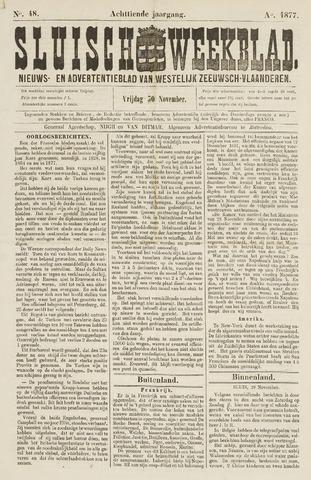 Sluisch Weekblad. Nieuws- en advertentieblad voor Westelijk Zeeuwsch-Vlaanderen 1877-11-30