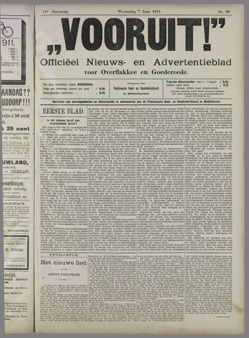 """""""Vooruit!""""Officieel Nieuws- en Advertentieblad voor Overflakkee en Goedereede 1911-06-07"""