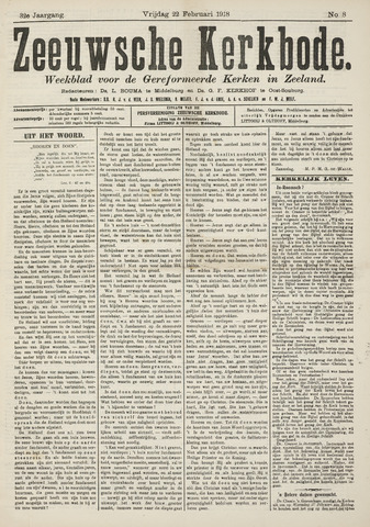 Zeeuwsche kerkbode, weekblad gewijd aan de belangen der gereformeerde kerken/ Zeeuwsch kerkblad 1918-02-22