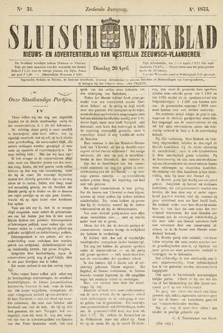 Sluisch Weekblad. Nieuws- en advertentieblad voor Westelijk Zeeuwsch-Vlaanderen 1875-04-20