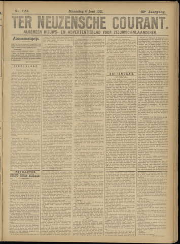 Ter Neuzensche Courant. Algemeen Nieuws- en Advertentieblad voor Zeeuwsch-Vlaanderen / Neuzensche Courant ... (idem) / (Algemeen) nieuws en advertentieblad voor Zeeuwsch-Vlaanderen 1921-06-06