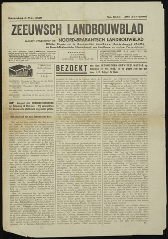 Zeeuwsch landbouwblad ... ZLM land- en tuinbouwblad 1939