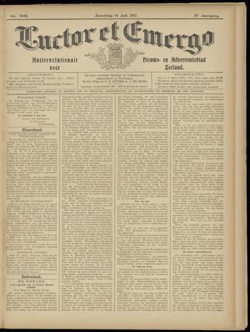 Luctor et Emergo. Antirevolutionair nieuws- en advertentieblad voor Zeeland / Zeeuwsch-Vlaanderen. Orgaan ter verspreiding van de christelijke beginselen in Zeeuwsch-Vlaanderen 1917-07-14