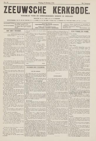 Zeeuwsche kerkbode, weekblad gewijd aan de belangen der gereformeerde kerken/ Zeeuwsch kerkblad 1936-10-23