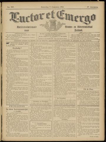 Luctor et Emergo. Antirevolutionair nieuws- en advertentieblad voor Zeeland / Zeeuwsch-Vlaanderen. Orgaan ter verspreiding van de christelijke beginselen in Zeeuwsch-Vlaanderen 1912-08-03