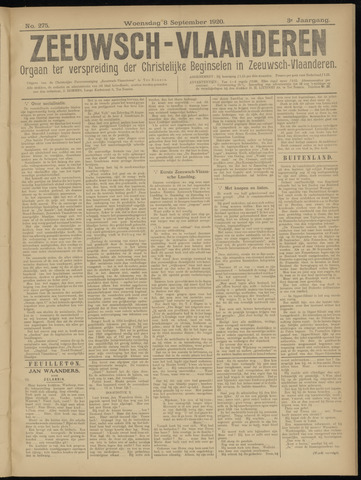 Luctor et Emergo. Antirevolutionair nieuws- en advertentieblad voor Zeeland / Zeeuwsch-Vlaanderen. Orgaan ter verspreiding van de christelijke beginselen in Zeeuwsch-Vlaanderen 1920-09-08