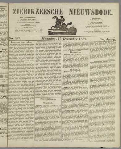 Zierikzeesche Nieuwsbode 1852-12-15