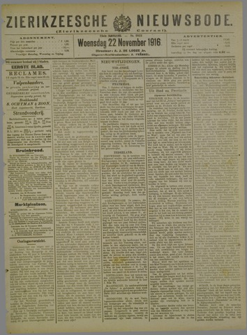 Zierikzeesche Nieuwsbode 1916-11-22