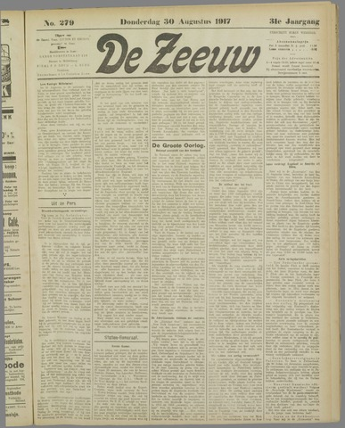 De Zeeuw. Christelijk-historisch nieuwsblad voor Zeeland 1917-08-30