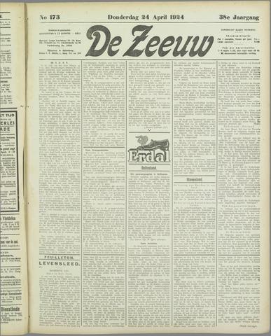 De Zeeuw. Christelijk-historisch nieuwsblad voor Zeeland 1924-04-24