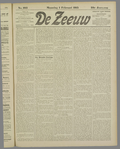 De Zeeuw. Christelijk-historisch nieuwsblad voor Zeeland 1915-02-01