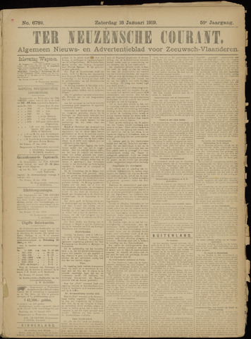 Ter Neuzensche Courant. Algemeen Nieuws- en Advertentieblad voor Zeeuwsch-Vlaanderen / Neuzensche Courant ... (idem) / (Algemeen) nieuws en advertentieblad voor Zeeuwsch-Vlaanderen 1919-01-18