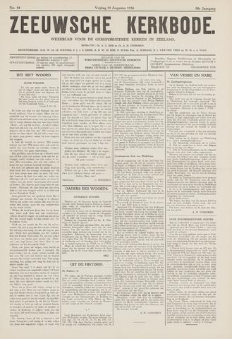 Zeeuwsche kerkbode, weekblad gewijd aan de belangen der gereformeerde kerken/ Zeeuwsch kerkblad 1936-08-21