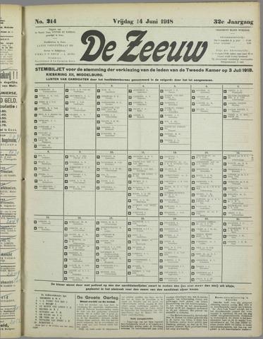 De Zeeuw. Christelijk-historisch nieuwsblad voor Zeeland 1918-06-14