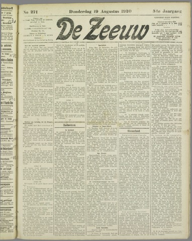 De Zeeuw. Christelijk-historisch nieuwsblad voor Zeeland 1920-08-19
