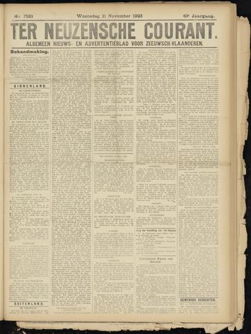 Ter Neuzensche Courant. Algemeen Nieuws- en Advertentieblad voor Zeeuwsch-Vlaanderen / Neuzensche Courant ... (idem) / (Algemeen) nieuws en advertentieblad voor Zeeuwsch-Vlaanderen 1923-11-21