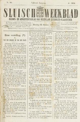 Sluisch Weekblad. Nieuws- en advertentieblad voor Westelijk Zeeuwsch-Vlaanderen 1874-10-13