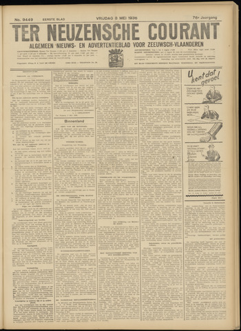 Ter Neuzensche Courant. Algemeen Nieuws- en Advertentieblad voor Zeeuwsch-Vlaanderen / Neuzensche Courant ... (idem) / (Algemeen) nieuws en advertentieblad voor Zeeuwsch-Vlaanderen 1936-05-08