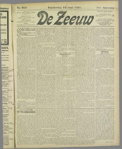 De Zeeuw. Christelijk-historisch nieuwsblad voor Zeeland 1920-06-24