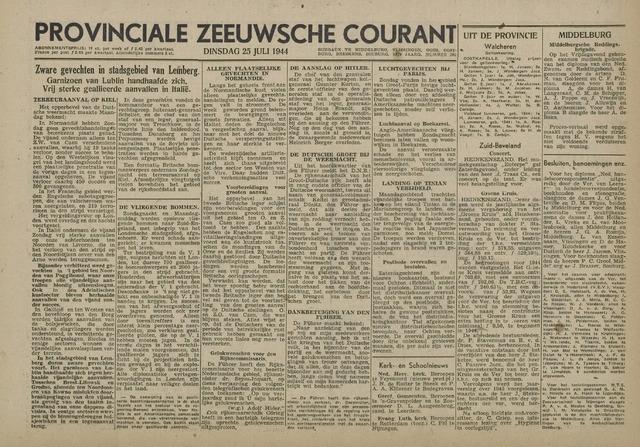 Provinciale Zeeuwse Courant 1944-07-25